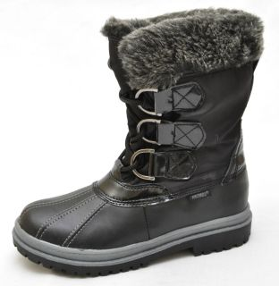 Khombu Tess Black Faux Fur Mid Calf Winter Boots Womens 6 New