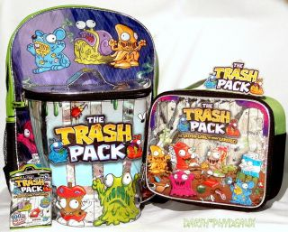 PACK Boys School BACKPACK/BOOK BAG +LUNCH BOX SET BONUS TRASHIE FIGURE