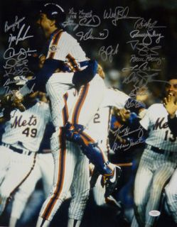 1986 World Champion New York Mets Celebration Autographed 16x20 w 22