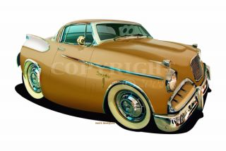 Barrett 1957 Studebaker Golden Hawk Cartoon Car Wall Graphic Decal