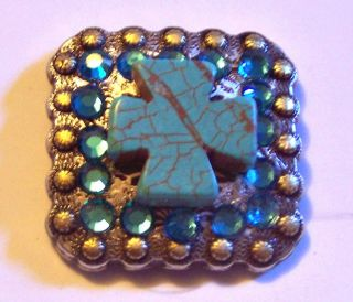 Barrel Racing Turquoise Cross Concho with Teal Blue Crystals Bling