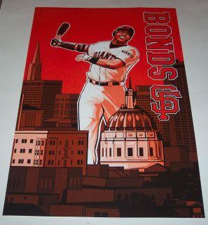 Barry Bonds SF Giants Orange Downtown Poster Print SGA San Francisco