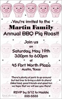 Personalized Pig Roast BBQ Birthday Party Invitations
