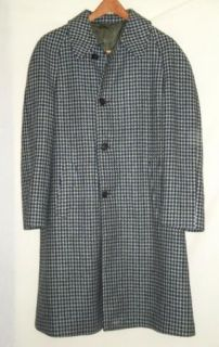 Fab Green Blue Houndstooth Wool Over Coat Barron Anderson C42