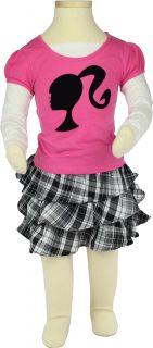 Barbie Girl Young Girls Silhouette Top Skirt Skort Set Sizes 4 6X
