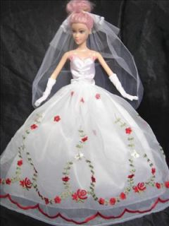 Barbie Dress Wedding Dress Barbie Cloth Gift Veil Glove or Hat or Fur