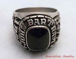 1985 John H Bartram Philadelphia High School Class Ring with Onyx Sz 9
