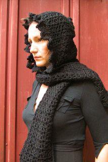 Vampire Victorian Gothic Handmade Crochet Hooded Scarf