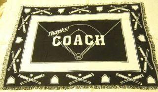 Thanks Coach Baseball Gift Throw Blanket 100 Cotton