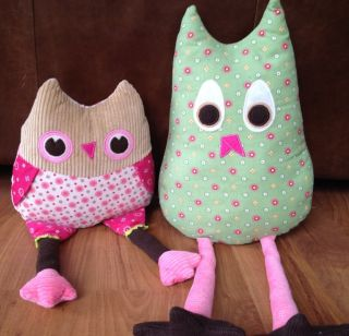 Pottery Barn Kids Plush Owl Penny & Joy Stuffed Toys/Pillows (Girls