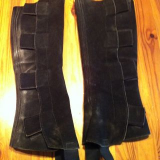 BARNSTABLE CHILD KIDS LEATHER SUEDE BLACK HALF CHAPS SIZE LARGE