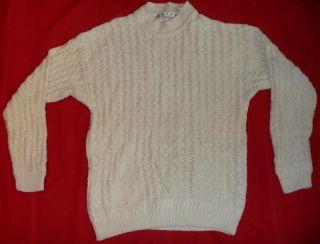 Basix Fenn Wright & Manson Sweater Mens Small White Knit Ramie Cotton