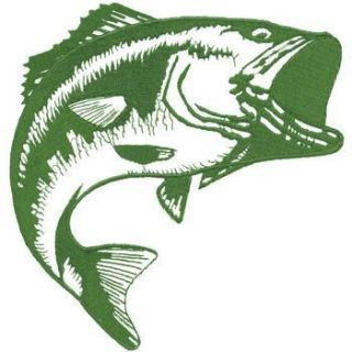 Giant Large Mouth Bass Outline Embroidered Patch Approx Size 9 1 2X10