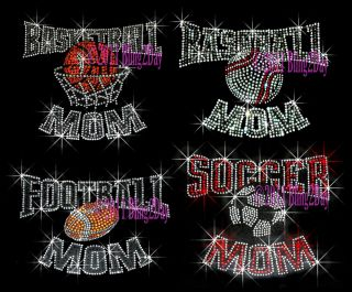 Sports Mom Rhinestone Iron on Transfer Bling Hot Fix