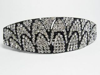 Art Deco Hair Barrette Clip Pony Holder Austrian Rhinestone Crystal