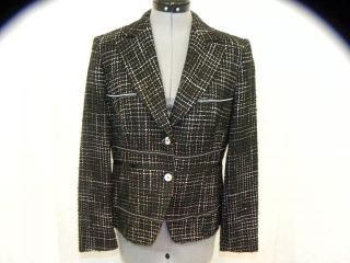 BASLER black/white tweed blazer.Long sleeves with collar and front