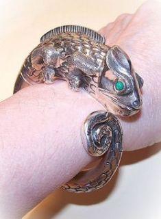 Outstanding 950 Silver Turquoise Cuff Bracelet Gecko Lizard or Iguana