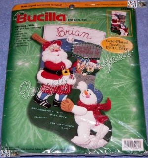Bucilla Baseball Santa Stocking Felt Applique Christmas Kit RARE