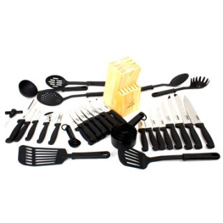 master chef 45 piece high carbon stainless steel cutlery set w wooden