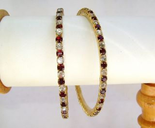 jewelry/jewellery maroon,white CRYSTAL GOLD PLATED BANGLES/BRACELETS
