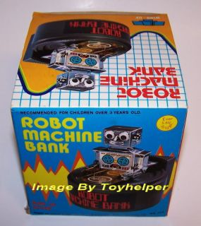 Wind Up Robot Machine Bank Coins Money Saver Vintage
