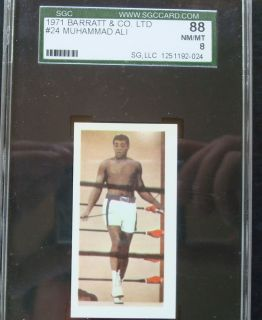Cassius Clay Muhammad Ali Card 1971 Barratt 24 SGC 88 NM Mint 8