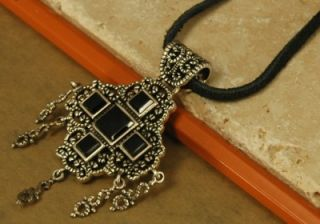 Barse Leather Necklace with Sterling Silver Black Onyx Cross