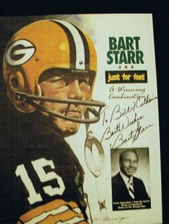 HOF Bart Starr Signed Poster Green Bay Packers Football