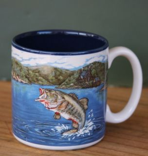 Mug Coffee Bass Fish Jumping Lake Scene Blue Inside Cup