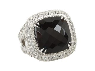 DeLatori Square Black Onyx and Crystal Ring