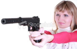 stock photo 8189194 young girl with gun