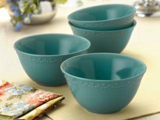 Paula Deen Whitaker Aqua Dinnerware Soup Bowls Set of 4 Soup & Pasta ...