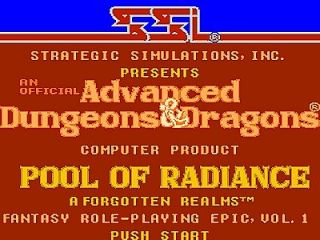 Advanced Dungeons Dragons Pool of Radiance Nintendo, 1991