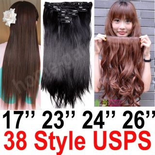 2013 1719232426 full head set hair extensions black brown