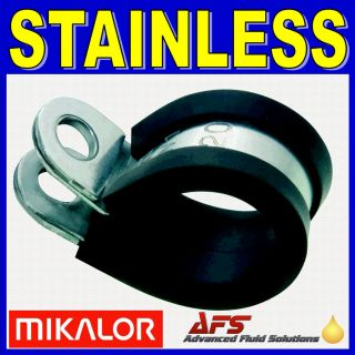 10 x MIKALOR W4 304 Stainless Steel Rubber Lined P Clip Pipe Retaining