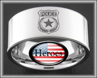 newly listed 10mm tungsten police man cop shield rings sizes