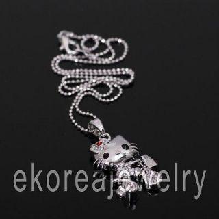 Made in KOREA   Austrian Crystal Vivid Hello Kitty on Bike Necklace