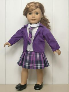4PC Purple Uniform Doll Clothes outfit for 18 american girl new