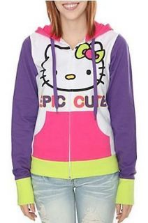 NWT JUNIORS SIZE SMALL HELLO KITTY EPIC CUTE ZIP UP COLORFUL HOODIE
