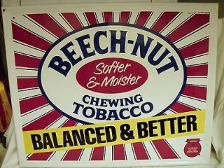 Vintage Beech Nut Chewing Tobacco Metal Sign 1987 Great Cond.