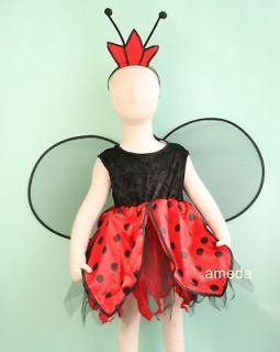 HALLOWEEN GIRLS LADYBUG DRESS WINGS COSTUME BIRTHDAY PARTY XMAS 1 3Y