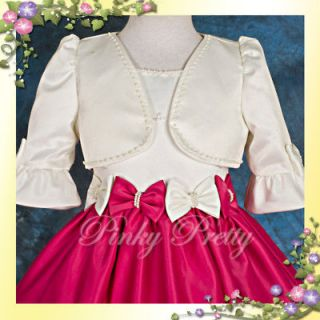 Ivory Beaded Satin Bolero Jacket Wedding Flower Girl Bridesmaid Party