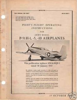 1945 army model p 51 h mustang pilot flight manual time left $ 14 99