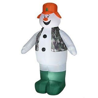 lighted hunting snowman airblown yard decor inflatable time left