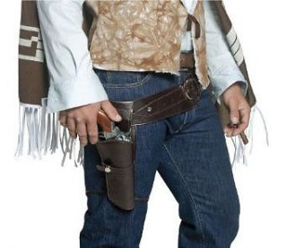 WESTERN COWBOY SINGLE HOLSTER ADULT MENS BROWN GUNMAN GUN BELT