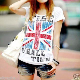 New Pop Fashion England UK British Flag Pattern Slim Embellished T