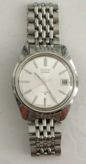 VINTAGE SEIKO AUTOMATIC 17 JEWEL WATCH SILVER ON SILVER 7025 806 LR