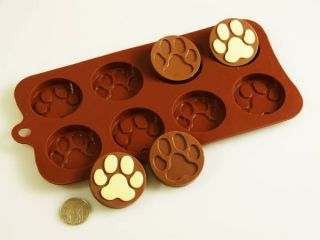 PAW PRINT Dog Silicone Bakeware Mould Chocolate Mold Cookie Candy Soap
