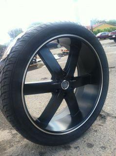 BLACK WHEELS TIRES 6X139 TITAN GMC CHEVY GMC SILVERADO TAHOE 295 35 24