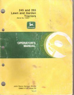 John Deere 245 265 Lawn Garden Tractor Operators Manual Serial Numbers